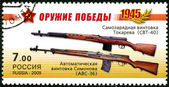RUSSIA- 2009: shows Avtomaticheskaya Vintovka Simonova AVS-36, Samozaryadnaya Vintovka Tokareva SVT-40, series Weapon of the Victory, the 65th anniv. of Victory in the Great Patriotic War of 1941-1945 — Stock Photo