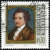 LIECHTENSTEIN - 1981: shows portraits of Goethe (1749-1832), by Angelica Kauffmann, series Famous Visitors to Liechtenstein (Paintings) — Stock Photo