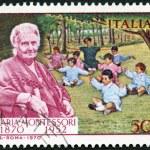 ITALY - 1970: shows Dr. Maria Montessori (1870-1952) and Children — Stock Photo #32639519
