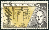 CZECHOSLOVAKIA - 1959: shows Edwin Howard Armstrong (1890-1954), Issued to honor inventors in the fields of telegraphy and radio — Stock Photo