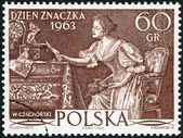 "POLAND - 1963: shows ""Love Letter"" by Wladyslaw Czachorski, Issued for Stamp Day — Stockfoto"