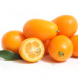 Kumquat with leaf — Stock Photo