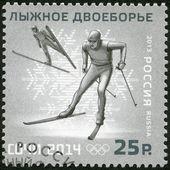 RUSSIA - 2013: shows XXII Olympic Winter Games in Sochi 2014, Olympic winter Sports, biathlondouble — Stock Photo