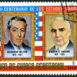EQUATORIAL GUINEA - 1975: shows Presidents Woodrow Wilson (1913-1921) and Warren G. Harding (1921-1923), commemorating the bicentennial of the USA — Stock Photo
