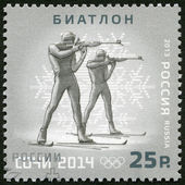 RUSSIA - 2013: shows XXII Olympic Winter Games in Sochi 2014, Olympic winter Sports, biathlon — Stock Photo