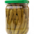 Preserved okro in glass jar — Stock Photo