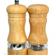 Wooden salt and pepper shakers — Stock Photo
