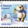 RUSSIA - 2013: shows Mascot of XXII Olympic Games in Sochi 2014 - Polar Bear (Mishka) — Stock Photo #37218905