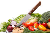 Fresh vegetables with knife — Stockfoto