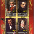 DJIBOUTI - 2009: shows Ludwig van Beethoven (1770-1827), Johannes Brahms (1833-1897), Hector Berlioz (1803-1869) and Franz Liszt (1811-1886) — Stock Photo