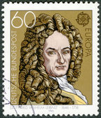 GERMANY - 1980: shows Gottfried Wilhelm Leibniz (1646-1716), philosopher and mathematician — Stock Photo