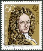 GERMANY - 1980: shows Gottfried Wilhelm Leibniz (1646-1716), philosopher and mathematician — Stock Photo