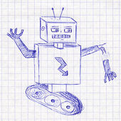 Robot. Children's drawing in a school notebook — Stock Photo
