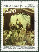 NICARAGUA - 1982: shows George Washington (1732-1799), Riding through Trenton, 250th birth anniversary — Стоковое фото