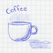 Cup of coffee. Children's drawing in a school notebook — Stock Photo