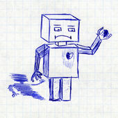 Robot with broken heart. Children's drawing in a school notebook — Stock Photo
