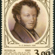 Stock Photo: RUSSI- 1999: shows portrait of Alexander Pushkin (1799-1837), poet, by Joseph-Evstafi Vivien, 1826
