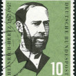 Stock Photo: GERMANY - 1957: shows Heinrich Hertz (1857-1894), physicist, birth century