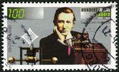 GERMANY- 1995: shows Guglielmo Marconi (1874-1937), wireless apparatus, Radio century — Stock Photo