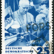 GERMANY - 1964: shows Khrushchev and Inventors, Issued in honor of Premier Nikita S. Khrushchev of the Soviet Union — Stock Photo