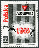 POLAND - 1975: devoted 30th anniversary of the liberation of Auschwitz (Oswiecim) concentration camp — Stock Photo