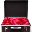 Open padded aluminum briefcase — Stock Photo