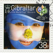 GIBRALTAR - 2006 : shows child with face painted as flag of Argentina, devoted 2006 World Cup Soccer Championships, Germany — Stock Photo