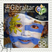 GIBRALTAR - 2006 : shows child with face painted as flag of Uruguay, devoted 2006 World Cup Soccer Championships, Germany — Stock Photo