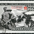 """USSR - 1968: shows """"Battle of Stalingrad"""" monument and German prisoners of war — Stock Photo"""
