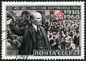 USSR - 1968: shows V.I. Lenin Addressing Troops in 1919, series 50th anniversary of the Armed Forces of the USSR — Stok fotoğraf