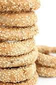 Stack of koulouri - traditional Greek bread — Stock Photo