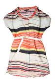 Modieuze vrouwen gestreepte jurk met riem — Stockfoto