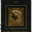 COOK ISLANDS - 2013: shows Queen Victoria, Penny Black, the world first postage stamp — Stock Photo