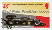 """JERSEY - 2013: dedicated Nigel Mansell, First Pole Position, US Grand Prix 1984, """"Legacy of a Formula One champion - Nigel Mansell"""" — Stock Photo"""