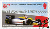 """JERSEY - 2013: dedicated Nigel Mansell, First Formula One Win at the 1985 European Grand Prix, """"Legacy of a Formula One champion - Nigel Mansell"""" — Stock Photo"""