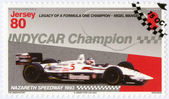 """JERSEY - 2013: dedicated Nigel Mansell, First Indy Car Championship 1993, Nazareth Speedway, """"Legacy of a Formula One champion - Nigel Mansell"""" — Stock Photo"""
