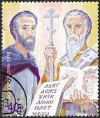 Ryssland - 2013: visar 1150th årsdagen av themission heliga lika med apostlarna Cyril och Methodius till de slaviska länderna — Stockfoto