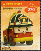 SOUTH KOREA - 2013: shows Roy, the brawny fire truck, series Brooms Town Rescue Team — Stock Photo