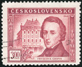 CZECHOSLOVAKIA - 1949: shows Frederic Chopin (1810-1849) and Conservatory, Warsaw, Centenary of the death of Frederic F. Chopin — Stock Photo