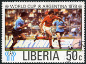 LIBERIA - 1978: shows Soccer, Netherlands and Uruguay, dedicated the 11th World Cup Soccer Championships, Argentina, June 1-25 — Stock Photo