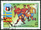 YEMEN PDR - 1990: shows Soccer game, Sweden, Spain, 1950, History of World Cup Soccer Championships — Stock Photo
