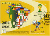 MALTA - 2014: dedicated the 2014 FIFA World Cup Brazil, June 12 -  July 13 — Zdjęcie stockowe