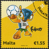 MALTA - CIRCA 2014: dedicated the 2014 FIFA World Cup Brazil, Ju — 图库照片