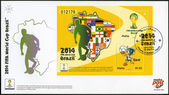 MALTA - 2014: dedicated the 2014 FIFA World Cup Brazil, June 12 - July 13 — Stock fotografie