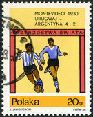 POLAND - 1966: shows final soccer game, Uruguay - Argentina, 4-2, World Cup Soccer Championships, Montevideo, 1930 — Stok fotoğraf