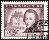 CZECHOSLOVAKIA - 1949: shows Frederic Chopin (1810-1849) and Conservatory, Warsaw, Centenary of the death of Frederic F. Chopin — 图库照片