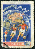 USSR - 1958: shows Soccer Players and Globe, World Cup Soccer Championship, Stockholm, 1958 — Foto de Stock