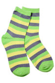 Pair of child's striped socks — Stock Photo