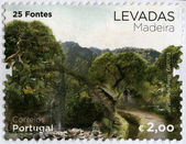 PORTUGAL - 2012: shows 25 natural springs, series Levada, Madeira — 图库照片