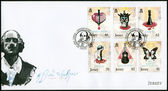 JERSEY - 2014: shows set of six stamps most famous plays of William Shakespeare, The 450th Anniversary of the Birth of William Shakespeare (1564-1616) — Stock Photo